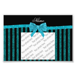 Custom name turquoise glitter stripes bow photo print