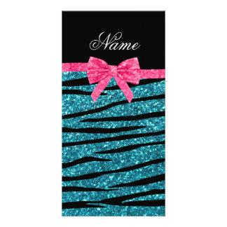 Custom name turquoise glitter zebra stripes bow customized photo card