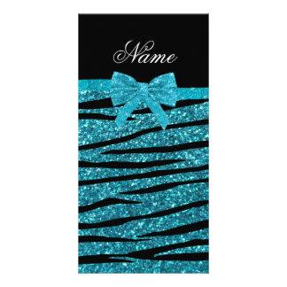 Custom name turquoise glitter zebra stripes bows photo card