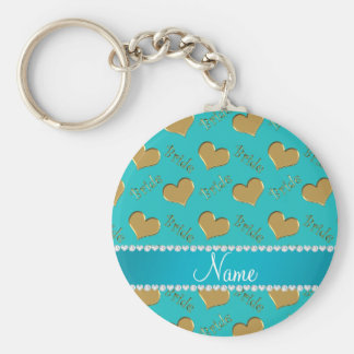 Custom name turquoise gold bride hearts basic round button key ring