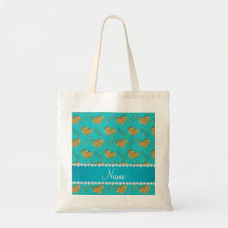 Custom name turquoise gold bride hearts budget tote bag