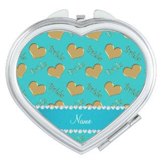 Custom name turquoise gold bride hearts vanity mirror
