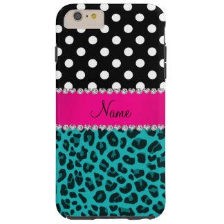 Custom name turquoise leopard black dots tough iPhone 6 plus case