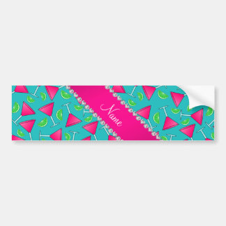 Custom name turquoise pink cosmos limes bumper sticker