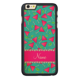Custom name turquoise pink cosmos limes carved® maple iPhone 6 plus case