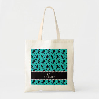 Custom name turquoise roller derby stars budget tote bag