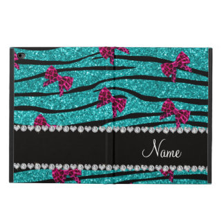 Custom name turquoise zebra stripes pink bows