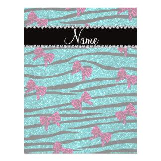 Custom name turquoise zebra stripes pink bows flyer design