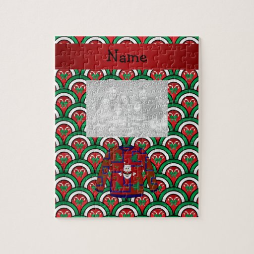 Custom name ugly christmas sweater candy canes jigsaw puzzle