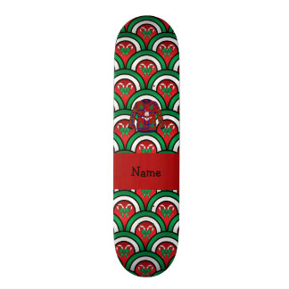 Custom name ugly christmas sweater candy canes skate board deck