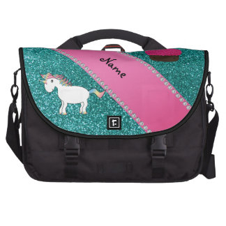 Custom name unicorn cupcake turquoise glitter bag for laptop