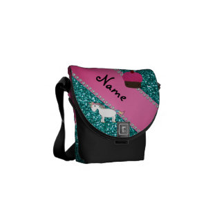 Custom name unicorn cupcake turquoise glitter courier bag