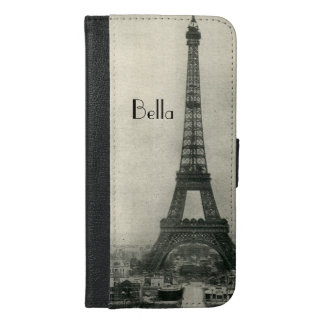 Custom Name Vintage Eiffel Tower iPhone 6/6s Plus Wallet Case