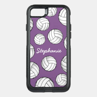 Custom Name Volleyball Purple OtterBox Commuter iPhone 8/7 Case