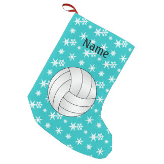 Custom name volleyball turquoise snowflakes small christmas stocking