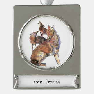Custom Name Watercolor Howling Coyote Animal  art Silver Plated Banner Ornament