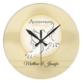 Custom Name, Wedding Anniversary Blessings Large Clock