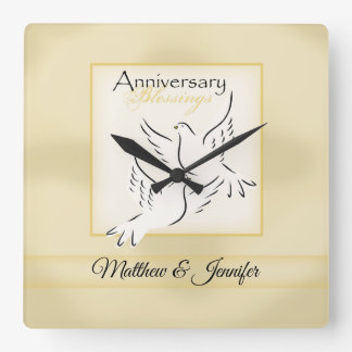 Custom Name, Wedding Anniversary Blessings Square Wall Clock