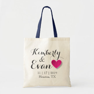 Custom Name Wedding Hotel Gift Tote Bag