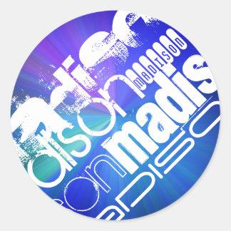 Custom Name; White & Abstract Purple, Green, Blue Round Sticker