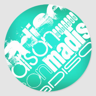 Custom Name, White and Neon Aqua Turquoise Round Stickers