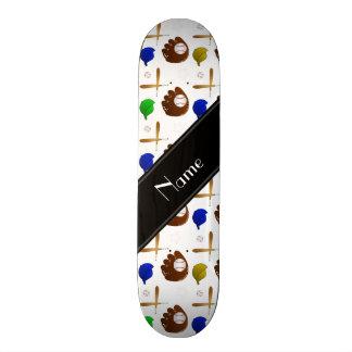Custom name white baseball glove hats balls skateboard deck