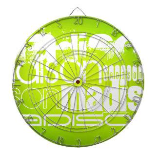 Custom Name; White & Neon Chartreuse Yellow Green Dart Boards