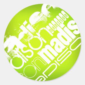 Custom Name; White & Neon Chartreuse Yellow Green Round Sticker