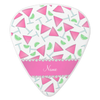 Custom name white pink cosmos limes white delrin guitar pick