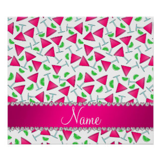 Custom name white pink cosmos limes poster