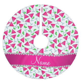 Custom name white pink cosmos limes brushed polyester tree skirt