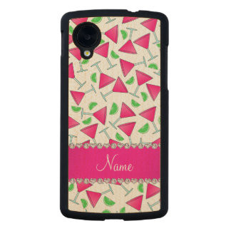 Custom name white pink cosmos limes carved® maple nexus 5 case