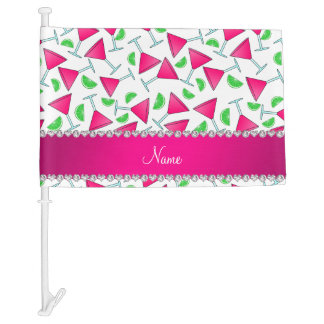Custom name white pink cosmos limes car flag