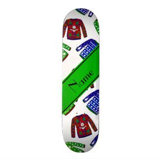 Custom name white ugly christmas sweater pattern skate board decks