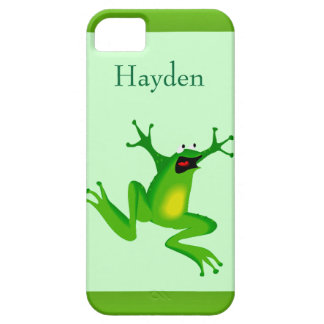 Custom Name Wild Cartoon Jumping Frog Green iPhone 5 Cover