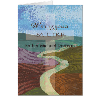 Custom Name Wish Safe Trip, Bishop, Religious Cros Card
