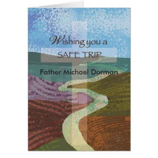 Custom Name Wish Safe Trip, Bishop, Religious Cros Greeting Card