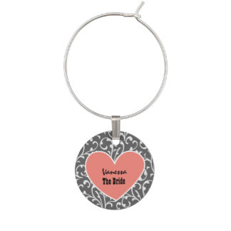 Custom Name with Heart BRIDE SWIRL Damask v3 Wine Glass Charms