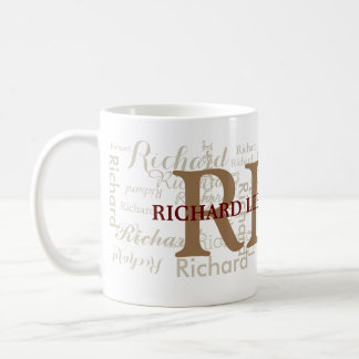 custom name with initials personalized monogram basic white mug