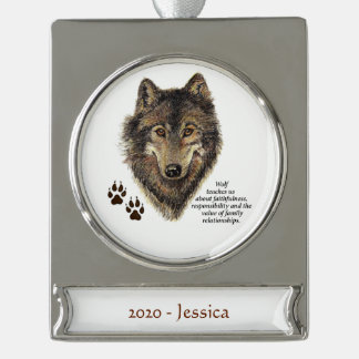 Custom Name Wolf Totem Animal Spirit Guide art Silver Plated Banner Ornament