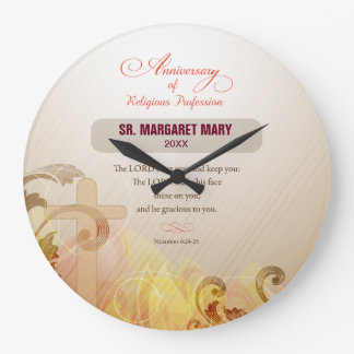 Custom Name & Year Nun, 60th Anniversary Religious Large Clock