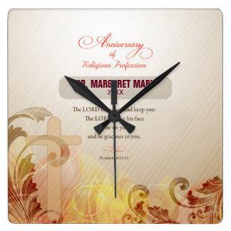Custom Name & Year Nun, 60th Anniversary Religious Square Wall Clock