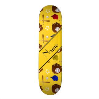 Custom name yellow baseball glove hats balls skate board decks