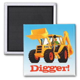 Custom Name Yellow Digger Square Magnet