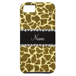 Custom name yellow glitter giraffe iPhone 5 cover