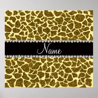 Custom name yellow glitter giraffe posters