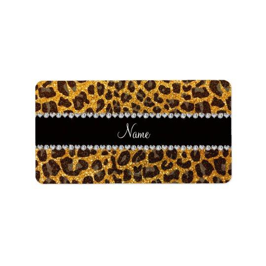 Custom name yellow glitter leopard print address label