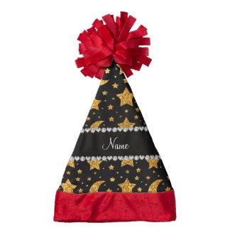 Custom name yellow glitter stars and moons santa hat