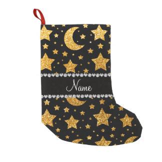 Custom name yellow glitter stars and moons small christmas stocking