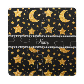 Custom name yellow glitter stars and moons puzzle coaster